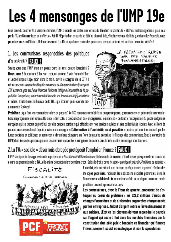 Les 4 mensonges de l'UMP 19e